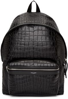 Saint Laurent - Black Croc-Embossed Leather Backpack  Pinterest: @juliasampognaro