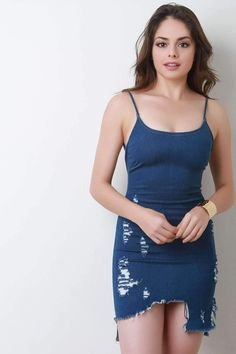 Distressed Chambray Sleeveless Bodycon Dress