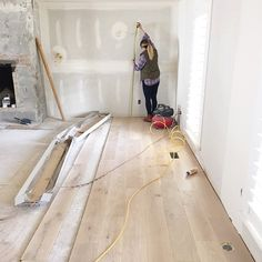 Kinda obsessed with the pretty oak floors going in at our #robinroad remodel with @stevetiek. #Padgram