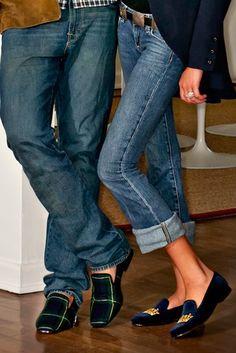 Jeans & velvet slippers.