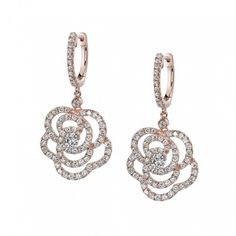 Vintage Floral Rose Gold Diamond Earrings