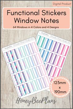 64 Functional Window Notes stickers in 4 colors, Pink, Blue, Green and Purple and 4 Unique Designs. This sticker kit is designed for planning in your planner. Printable downloadable file allows you to print and cut either by hand or with a cutting machine of your choice.  #plannerstickers #printablestickers #etsyplannershop Printable Planner Stickers, Printables, Green And Purple, Pink Blue, Print And Cut, Notes, Windows, Kit, How To Plan