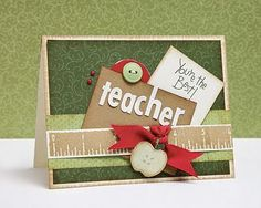"""Lisa's Creative Corner: Happy World Teacher's Day! Love this: again, it could be expanded to be a title on a page layout. the grade instead of """"teacher"""" Teachers Day Card, Teacher Thank You Cards, Teacher Gifts, Card Tags, I Card, World Teacher Day, Teacher Appreciation Cards, Teachers' Day, Teacher Favorite Things"""