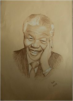 Nelson Mandela hand drawn pencil on paper by MuddCraft on Etsy