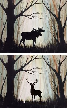 """Search results for """"Painting with Moose"""" – Painting Painting Art – Graffiti World Silhouette Painting, Moose Silhouette, Easy Paintings, Acrylic Paintings, Deer Paintings, Pics Art, Art Plastique, Pictures To Paint, Oeuvre D'art"""