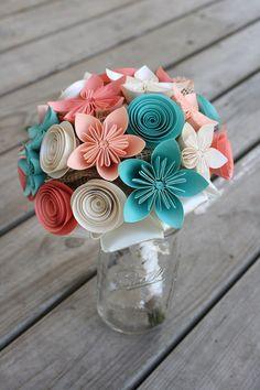 Mariage Bouquet Bouquet de mariée corail par PaperPerfectPetals                                                                                                                                                     Plus