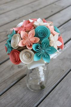 Bridal Bouquet  Alternative Wedding Bouquet  by PaperPerfectPetals