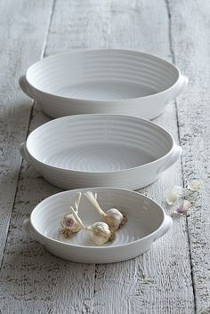 White Ceramic Oval Roasting Dishes: from £35.00 http://www.sophieconran.com/china/white-china-roasting-dishes-oval