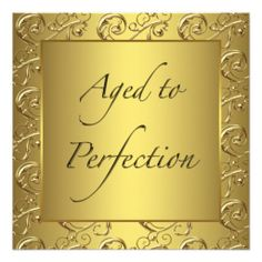 ZAZZLE Gold Swirl Aged to Perfection Birthday Party