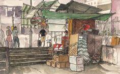 https://flic.kr/p/fsPRvE | Swatot Street | Life sketch in Wan Chai, Hong Kong.