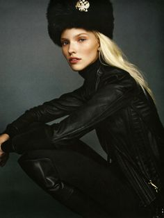 Sasha Luss is striking in Ralph Lauren Collection in the November issue of Vogue Russia