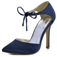 ElegantPark HC1610 Women's Pointed Toe High Heel Lace-up Bow D`orsay Pumps Satin Wedding Dress Shoes Navy Blue US 8