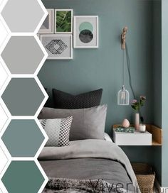 Beautiful color palate for the master bedroom. Mix and match from grays and greens to create a cool and inviting room. Adding a gallery wall of colorful prints will make anyone want to stay in your room longer. Slaapkamer kleurenpalet