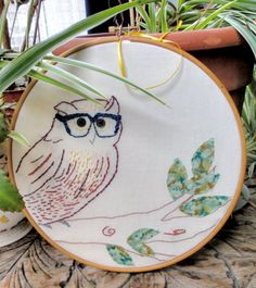 Mr. Tiberius Augustus, Librarian Extraordinare. Owl Embroidered Wall Hanging Decoration UK Seller. $33.00, via Etsy.