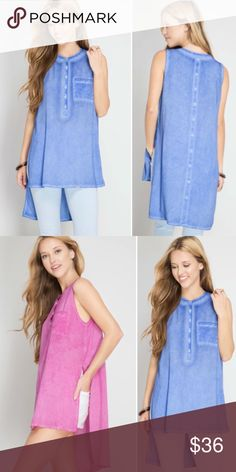 💜SHIPS FRIDAY💜 Burnout Blue High Low Slit Top Beautiful tank perfect for the upcoming warmer seasons!! A pretty Burnout blue color. Pink is not available-just to show the sides. S M L runs true Molly Dolly Tops Tunics