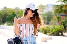 Summer end ... in Pink ! | Adrianne Trends #fashionblog #pink #outifit #tenue #rayures #stripes #rose #pinkood #hat #casquette #cap