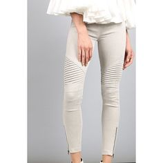 Beulah Style Moto Jeggings in Light Gray