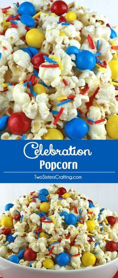 Celebration Popcorn - sweet, salty, delicious colorful and chock full of crunchy chocolate candy. Yum, yum, yum. This fun popcorn treat would be a fun dessert for a Beach Ball Pool Party, a Circus Party, a Curious George Party, a Superhero Party or a Sesame Street Party.  Pin this easy to make snack for later and follow us for more fun Popcorn recipe ideas.