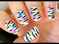 ▶ Unhas Decoradas - Zebrinha - Zebra Nail Art - YouTube