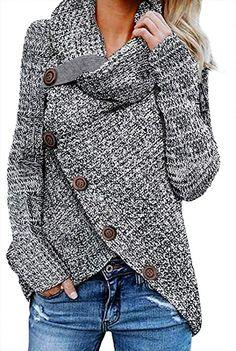 Asvivid Womens Cowl Neck Asymmetric Wrap Casual Plain Oversized Jumper Soft  Autumn Comfy Sweaters Plus Size 79af12ec1b7