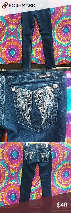 "☆Miss Me Jeans☆NWOT These jeans are new without the tag they're too big for me ""(""(""(. They have bling and sequined Angel wings on the back pockets VERY pretty. Size 25. In seem 31"".free gift with purchase same or next day shipping is ALWAYS guaranteed Miss Me Jeans"