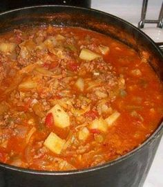 Ingredients:  1 small head of cabbage-chopped  2 lbs of lean ground beef  2 14 1/2 cans of stewed or diced tomatoes  1 can of rotel  2 8 oz cans of tomato sauce  1 large onion chopped  4 stalks of celery finely-chopped  1 small