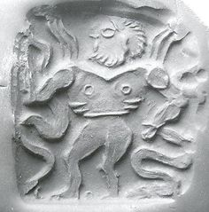 Double-sided stamp seal: nude winged hero dominating snakes; winged dragon  Period: Bronze Age Date: ca. late 3rd–early 2nd millennium B.C. Geography: Bactria-Margiana