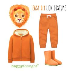 Roaaar! Put together an easy DIY Lion costume using Happythought's printable Lion mask templates and clothes from your wardrobe! https://happythought.co.uk/product/printable-wild-animal-masks