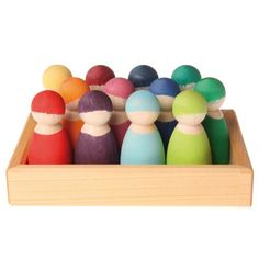 Rainbow Wooden Peg Dolls With Tray