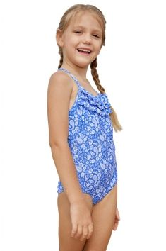 66c0a51912c86 Blue White Paisley Print Little Girl Maillot with Ruffle
