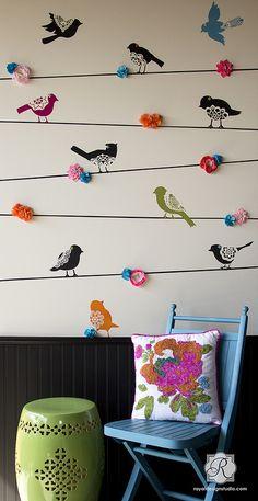 Large Sweet Tweets Lace Birds Wall Motif Stencil A B by Royal Design Studio Stencils