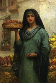 """Egypt"" by  Edwin Longsden Long RA (12 July 1829–15 May 1891), English genre, history, biblical and portrait painter.  Long was acquainted with John Phillip RA, and accompanied him to Spain, where they spent much time. Long was greatly influenced by the paintings of Velasquez and other Spanish masters. In 1874, he visited Egypt and Syria, and subsequently his work took a new direction. He became thoroughly imbued with middle-eastern archaeology and painted oriental scenes."