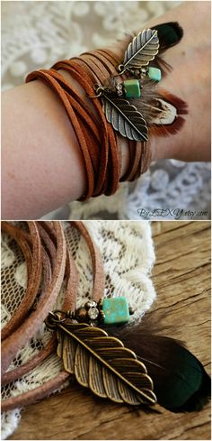 Boho Jewelry \Wild Spirit\ Beachy Feather Turquoise Brown Leather Wrap Bracelet Choker Necklace Armband Anklet Hair Accessory Gift ByLEXY