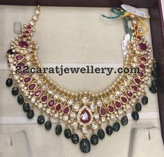 22 Carat gold necklace adorned with cz stones, rubies, south sea pearls and emerald beads by Premraj Shantilal jewellers. Kids Gold Jewellery, Gold Jewelry For Sale, Wholesale Gold Jewelry, Mens Gold Jewelry, Gold Jewellery Design, Latest Jewellery, Antique Jewellery Designs, Necklace Designs, Anklet Designs
