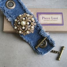 @: Denim Cuff Bracelet With Antique Pearl Brooch