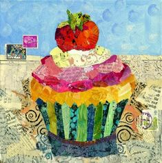 """""""Cinderella Cupcake: To the Ball - torn paper collage Original Fine Art for Sale - © Nancy Standlee There is an affordable tutorial available now on the Daily Paintworks site about the torn paper collage process. Collage Kunst, Food Collage, Paper Collage Art, Collage Artists, Paper Art, Cupcake Kunst, Cupcake Art, Paper Cupcake, Motifs Applique Laine"""