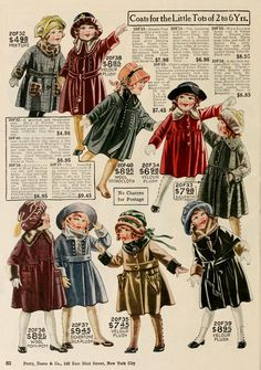 Girls Winter Coats from a 1927 catalog #vintage #1920s #fashion ...