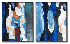 CZ ART DESIGN - Set of 2 Contemporary Painting on canvas #S168, original fine art, pair painting.