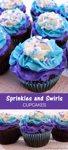 We just love the way these Sprinkles and Swirls Cupcakes turned out They are so gorgeous and so delicous And the DIY Sprinkles are the exact same color as the frosting We. Frost Cupcakes, Swirl Cupcakes, Pretty Cupcakes, Cupcakes For Girls, Strawberry Cupcakes, Best Buttercream Frosting, Cupcake Frosting, Frosting Recipes, Cupcake Recipes