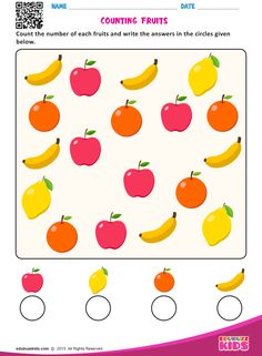 edubuzzkids - Printable preschool worksheets that help kids to practice basic counting with objects like animals, fruits, vehicles etc. Kids will be able to count the number of each object and write the answers in the circles given below on the worksheet. Fun Worksheets For Kids, Printable Preschool Worksheets, Kindergarten Math Worksheets, Math For Kids, Number Worksheets, Maths, Preschool Writing, Numbers Preschool, Preschool Learning Activities