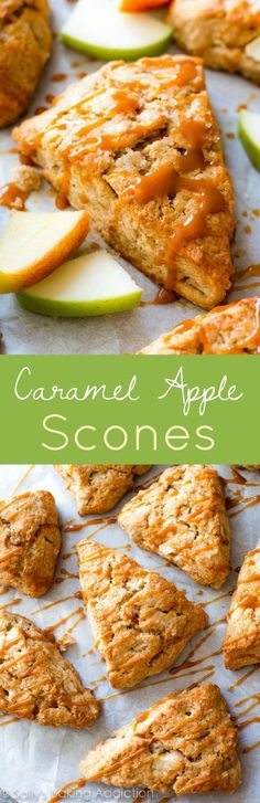 Homemade apple cinnamon scones with crunchy tops, warm centers, and caramel drizzles. They're really easy!