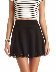 Laser-Cut Scalloped Skater Skirt: Charlotte Russe
