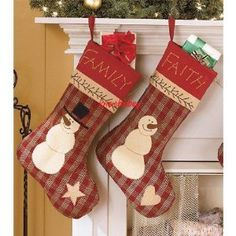 primitive country christmas snowman embroidered family faith stocking set - Country Christmas Stockings