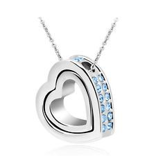 Fashion Women Double Heart Blue Crystal Charm Pendant Chain Necklace Silver QW71 - https://barskydiamonds.com/necklaces/