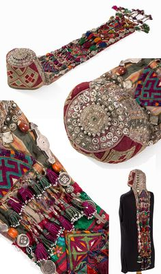 Turkmenistan / Afghanistan | Turkoman Headdress with gold brocade; Stitched cotton, gold brocade, silver, glass beads, carnelian, brass, metal | ca. 1900 | Est. 1'500€ ~ (Jan '15)