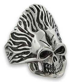 Stainless Steel Biker Electrified Skull Ring