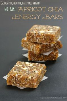 No-Bake Apricot Chia Energy Bars are a quick easy healthy snack that you can whip up in minutes with only six ingredients. Perfect for road trips and to pack in a camp or school lunch box since they are gluten free nut free dairy free and vegan. Healthy Bars, Healthy Sweets, Healthy Snacks, Healthy Baking, Healthy Granola Bars, Vegan Desserts, Raw Food Recipes, Snack Recipes, Baking Recipes