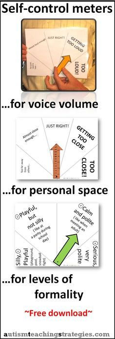 These easy-to make meters help children with Asperger's to increase their awareness of voice volume, personal space and levels of formality.  Print them, laminate them, cut them out. Tags: autism, asperger's, personal space, voice volume This was pinned by pinterest.com/joelshaul .  Follow all our boards.