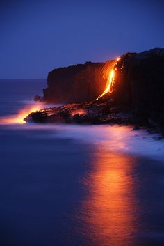 lava flowing into the ocean, Kilauea Volcano, Big Island, Hawaii, by Toshi Sasaki