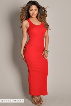 Ribbed Tank Top Style Bodycon Casual Red Maxi Dress
